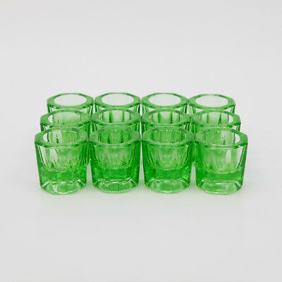 Glass Dappen Dish Green Acrylic Holder Container Dental Cosmetology 12pcs