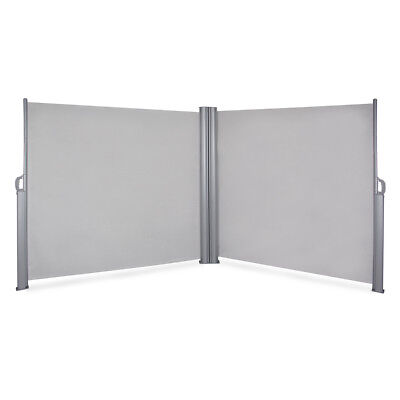 19.6 x 5.2FT Outdoor Retractable Double Side Awning UV Sunshade Corner, Grey