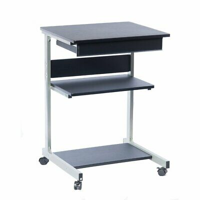 Mobile Laptop Desk Printer Station With Pullout Drawer And 2 Storage Shelves