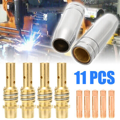 11pcsset Mig Welding Nozzle Welder Torch Nozzles Gold Tip Holder Contact Tips 0