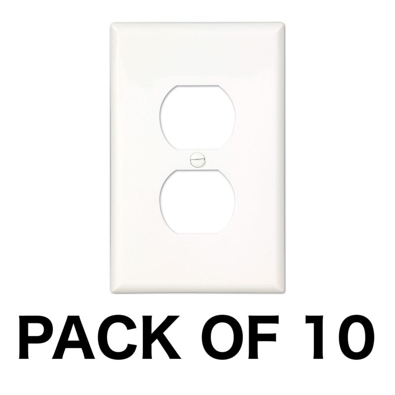 10 Pack Electrical Outlet Wall Face Plate Cover Single Duplex Residential White
