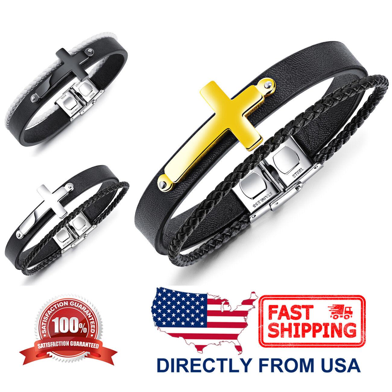 Men's Stainless Steel Cross and Black Leather Bracelet Bracelets