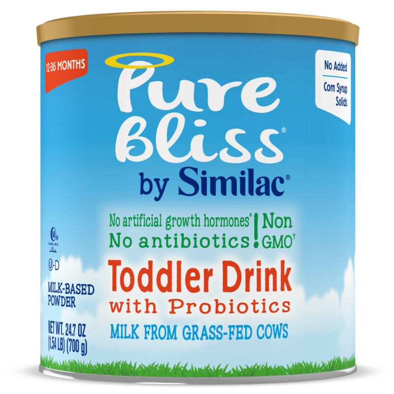 Similac Pure Bliss GMO Free Grass Fed Powder Toddler Formula, 24.7 oz Canister
