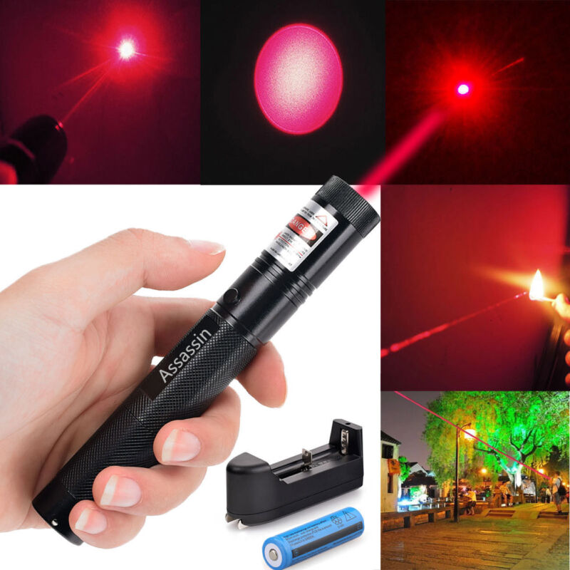 500 Miles 650nm Red Laser Pointer Pen Visible Beam Light Lazer + 18650 + Charger
