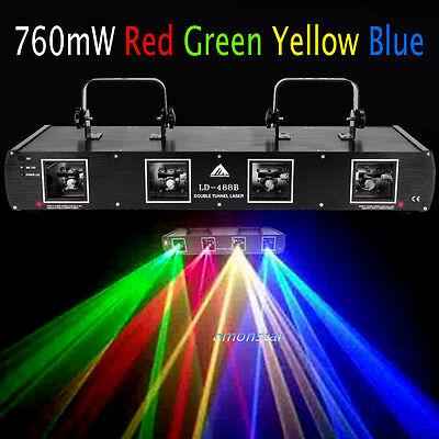4 Lens 760mW Red Green Yellow Blue Stage DJ Laser Disco 4 Beam Light Auto/DMX512