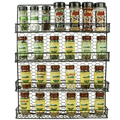 - 4 Tier Black Cabinet or Wall Mounted Spice Rack Storage Organizer