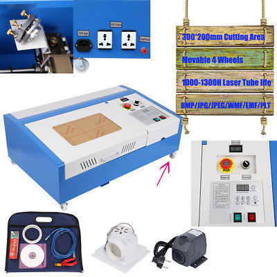 40W CO2 USB Laser Engraving Cutting Machine 300x200mm Engraver w/ Movable Wheel