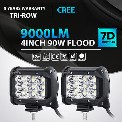 "2x Tri Row 4""inch 90W CREE LED Work Light Bar FLOOD Offroad"
