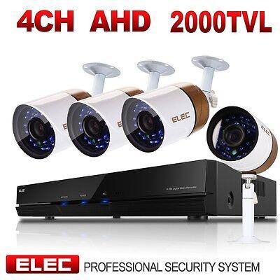 ELEC 2000TVL 4CH AHD DVR 720P HD Video IR-CUT CCTV Home Security Camera System