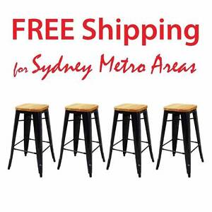 SALE - Xavier Pauchard Wood Seat Tolix Stool - 75cm (set of 4) Zetland Inner Sydney Preview
