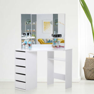 Dressing Table Makeup 5 Drawers Mirror Padded Corner Desk Dresser Bedroom  White