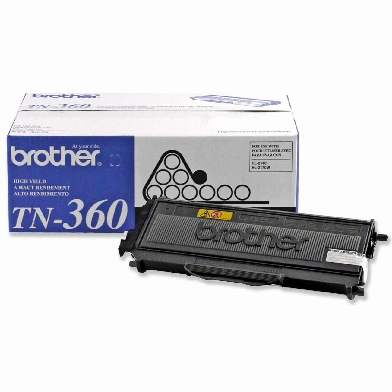 Genuine Brother Tn360 Black Toner Cartridge -2600 Page Fo...