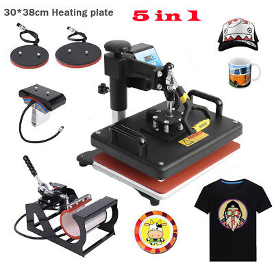 15x12 5in1 Combo T-shirt Heat Press Transfer Machine Sublimation Swing Away Hs