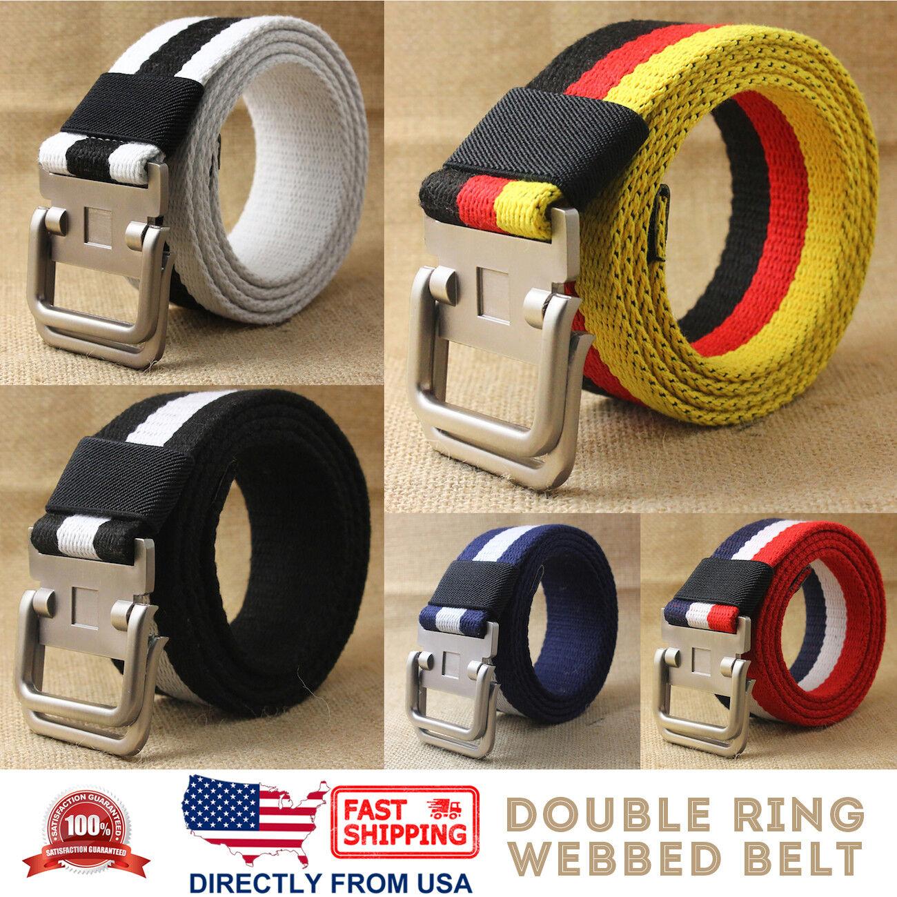 Men's Jean Belt, Casual Canvas Webbed Belt, Double Ring Metal Buckle Belts