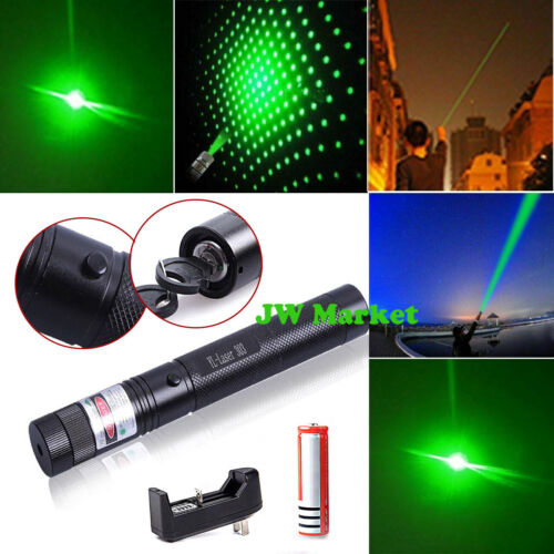 500Mile 532nm 303 Green Laser Pointer Visible Beam Light Lazer Pen+18650+Charger