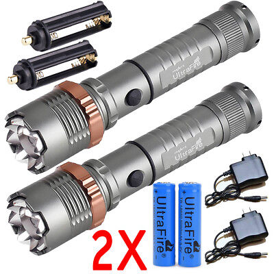 2 x Ultrafire 20000LM 5 Modes 18650 Rechargeable LED Flashlight Zoomable Charger