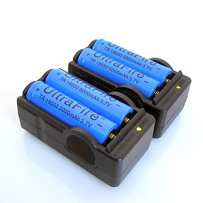 4x 18650 UltraFire 5000mAh 3.7v Rechargeable Li-ion Battery + 2x Smart Charger on Rummage
