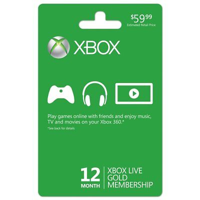 Xbox Live 12 Month Gold Membership Subscription Code Card Same Day Delivery for sale  Richardson