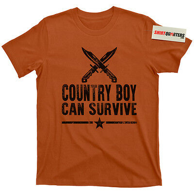 Hank Williams Jr Country Boy Can Survive Family Tradition Prepper outlaw T Shirt - Country Boy T-shirt
