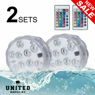 Underwater LED Lights Remote 16 Different Colours Spa Pool Hot Tub Home Decor X2