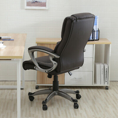 Brown PU Leather High Back Office Chair Executive Task Ergonomic Computer Desk 4