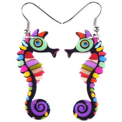 Acrylic Unique Sea Horse Earrings Drop Dangle Decor Jewelry For Women Girl Charm