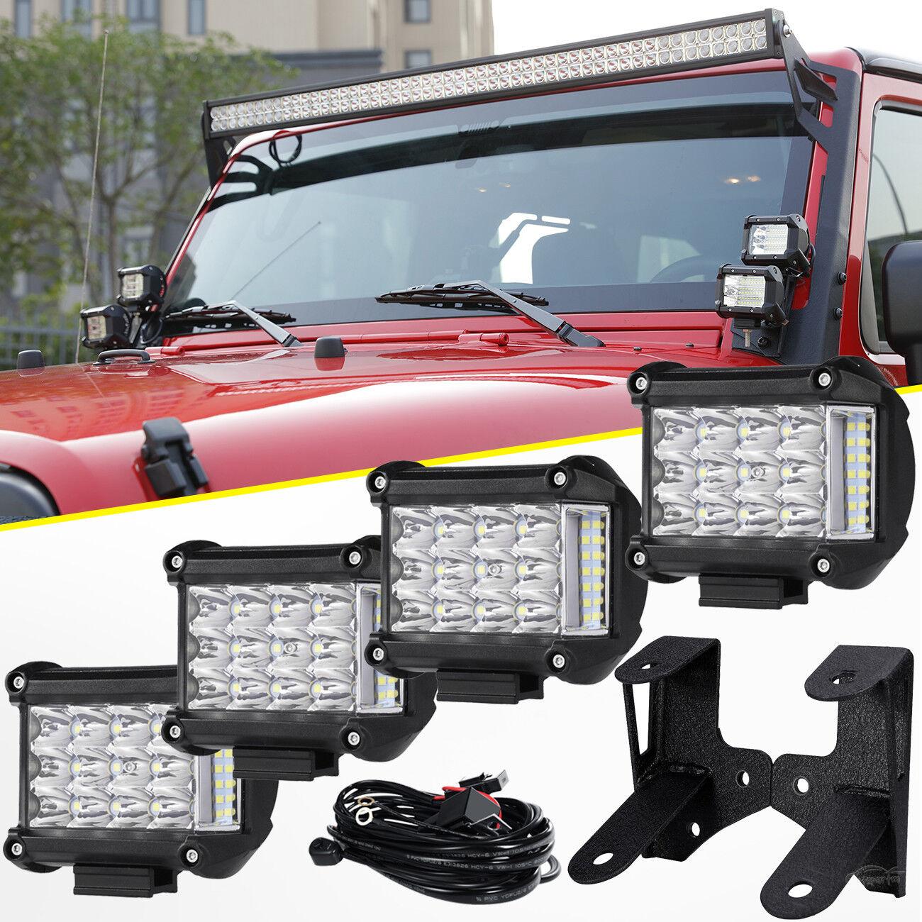 "Tri Row 4"" 95W Side Shooter LED Light Bar+Mounting Bracket Fit Jeep Wrangler JK"