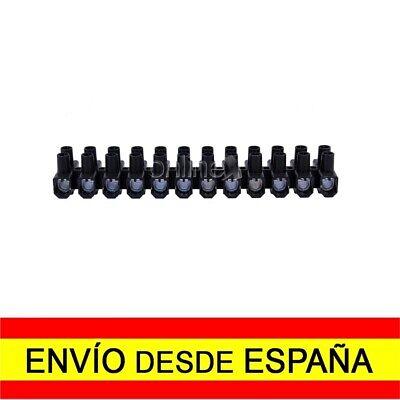 Regleta de 12 Secciones Conexiones Eléctricas 2,5mm 3 Amperios Negra a4427