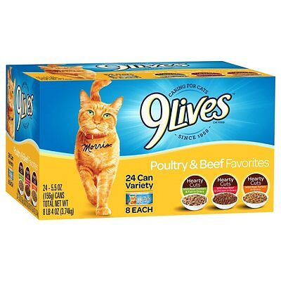 9Lives Poultry And Beef Variety Pack  5 5 Oz Cans  24 Count  New  Free Shipping