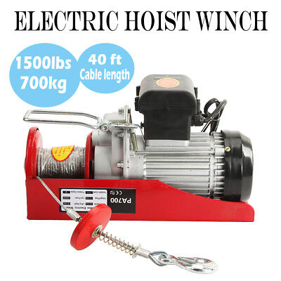 1500 Lbs Electric Hoist Winch Lifting Engine Crane Cable Overhead Lift W Remote