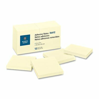Sticky  Notes Business Source 36612 , 3x3, 100 Sheets/Pad, 12/PK,Yellow