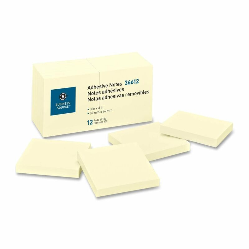Sticky Notes Business Source 36612, 3 x 3 inches, 100 Sheets/Pad, 12 Pack Yellow