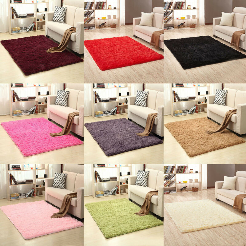 Details about Fluffy Rugs Anti-Skid Shaggy Area Rug Dining Room Home  Bedroom Carpet Floor Mat