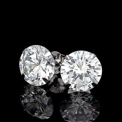 6CT CREATED DIAMOND MARTINI EARRINGS 14K WHITE GOLD SOLITAIRE LIGHT PRONG STUDS ()