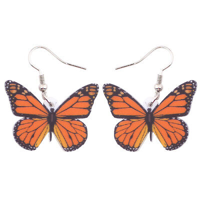Acrylic Monarch Butterfly Earrings Dangle Drop Insect Jewelry For Women New Gift
