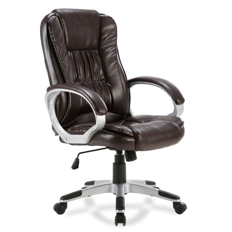 Executive Ergonomic Office Chair PU Leather High Back Computer Desk Task (Mocha)