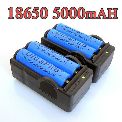 4PC UltraFire 5000mAh BRC 3.7v 18650 Rechargeable Li-ion Battery+ Smart Charger on Rummage