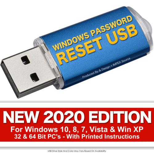 #1 Windows Password Reset Recovery USB for Windows 10, 8, 7, Vista, XP NEW 2020
