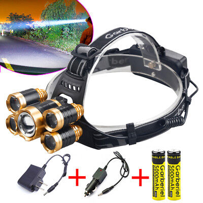 100000Lumens 5T6 LED Rechargeable Headlamp 18650 Zoom Focus Headlight US Charger