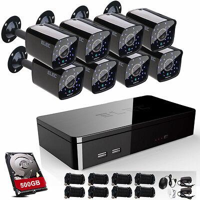 ELEC 960H 8CH HDMI DVR 1500TVL 1.0MP CCTV Home Security Camera System 500GB HDD