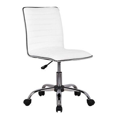 Designer Office Desk (Low Back Armless White Ribbed Leather Designer Swivel Task Computer Desk)