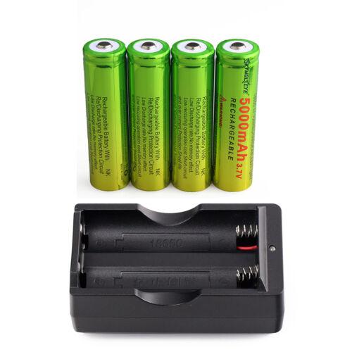 4PC  3.7V 5000mAh 18650 Li-ion Lithium Battery+ Dual Charger  For LED Lamp USA