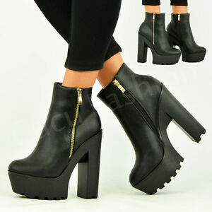 New-Womens-Ladies-High-Ankle-Boots-Chunky-Block-Heel-Zip-Platform-Shoes-Size-Uk