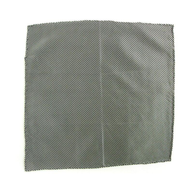 New SANTOSTEFANO Handmade Striped SIlver Silk Pocket Square Handkerchief $150