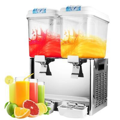 Commercial 18l 2-tank Juice Beverage Dispenser Cold Drink Fruit Ice Tea 9.5gal