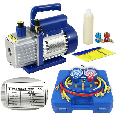 Dual Gauge Ac Diagnostic Manifold Tester Set R134a 3cfm 14hp Vacuum Pump Kit