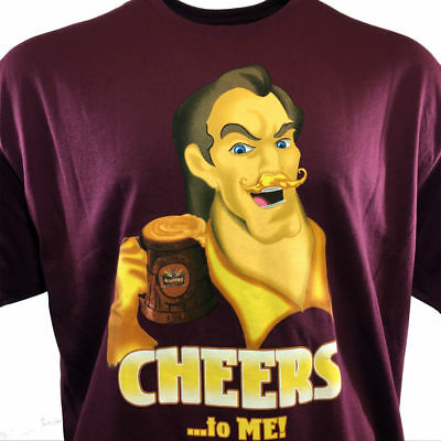 Disney T Shirt Mens Gaston Cheers To Me  Beauty And The Beast Burgundy Size2xl