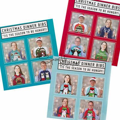 CHRISTMAS JUMPER BIBS x 8 - Xmas Dinner Table Idea - Novelty Secret Santa Gift ()