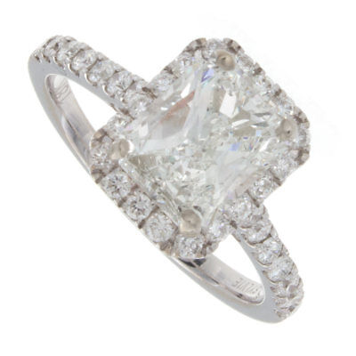 2.20ct Radiant Cut GIA Certified Pavè Diamond Engagement Ring