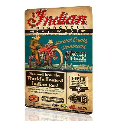 Metal Sign Classic Indian Motorcycle Poster Vintage Decor Garage Pub Wall MOTOR